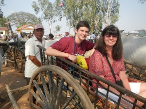 Oxcart ride in Cambodia village