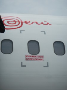 In emergency cut here. Air Peru aircraft safety feature.
