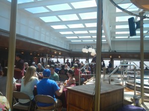Aboard the Maasdam groupts gather to eat and drink