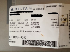 TSA precheck identifier on ticket