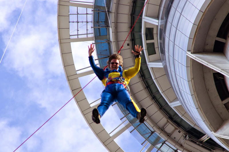 Picture of Wendy on the Sky Jump. New Zealand's Sky Tower
